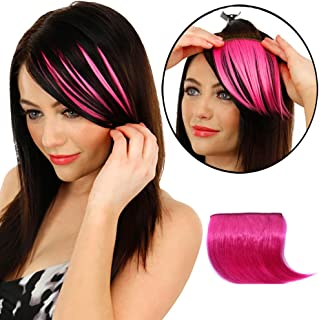 TRIXES Clip in Fringe Hair Bangs Wig Extension - Beauty Styling Accessory - Hot Pink