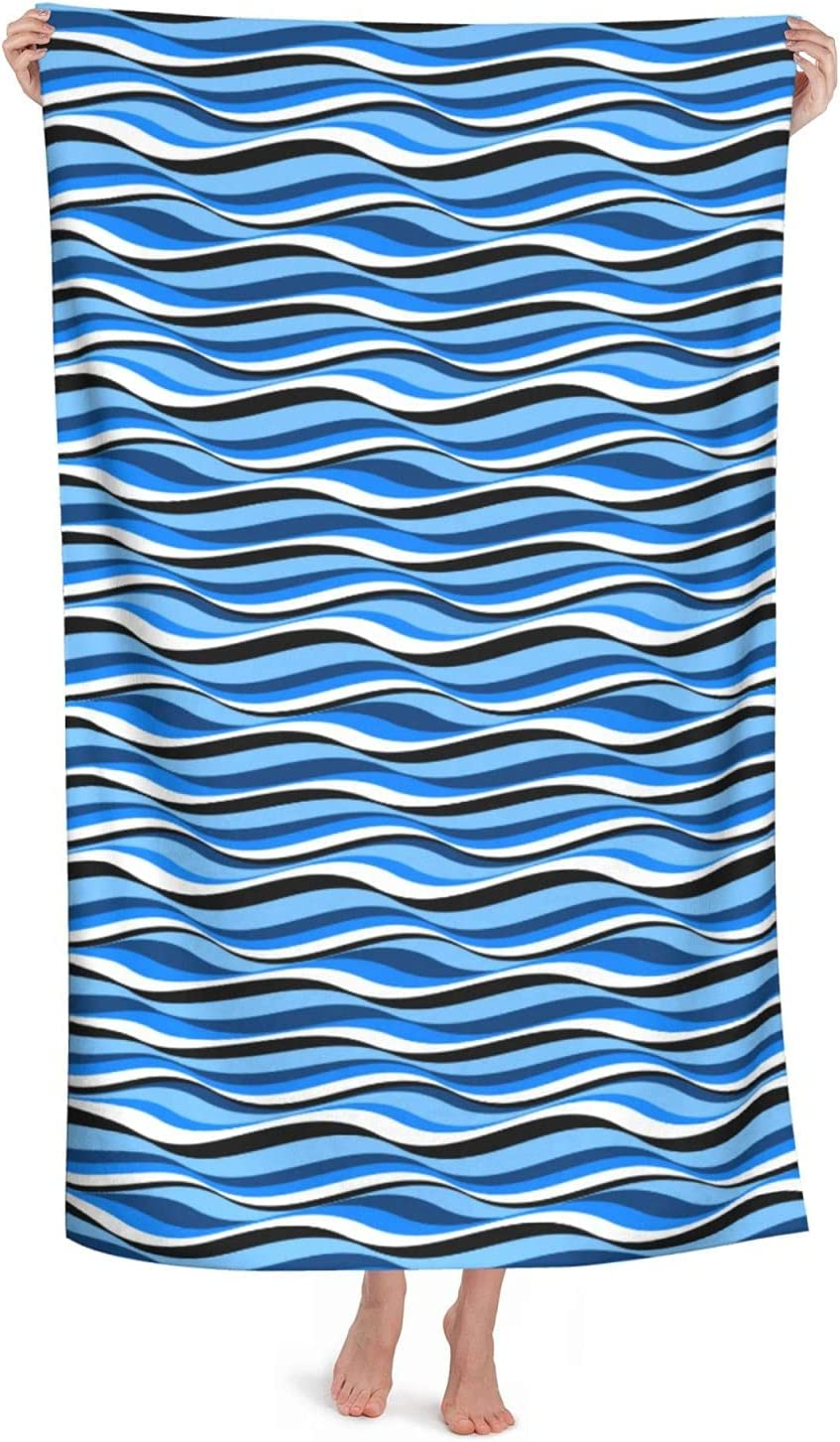 Blue Sea Wave Soft Bathroom Microfiber Highly Manufacturer regenerated product Washcloth Towels Quality inspection