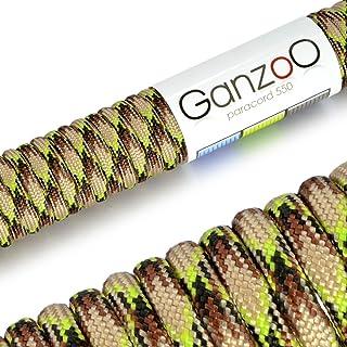 Ganzoo–Cuerda de supervivencia multifuncionales paracaídas Paracord 550(cuerda trenzada de nailon), soportan hasta 250kg, longitud total: 31metros (100FT) Color: Camuflaje/marrón/verde claro–Marca Ganzoo