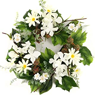 Signs of Summer Black Raspberry White Hydrangea Daisy 12-13 Inch Candle Ring Small Wreath Use Year Round Every Day Decoration for Kitchen Or Dining Area Traditional to Farmhouse Table Top Centerpiece