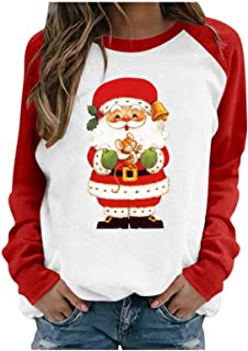 Women Casual Long Sleeves Christmas Santa Claus Printed...