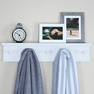 """Ballucci Wooden 5 Hooks Entryway Hanging Wall Mounted Rack Shelf for Coat and Hat, Storage or Display Stand, 24"""", White"""