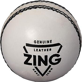 TAURO ZING White Cricket Leather Ball- 2 Panel, (White)
