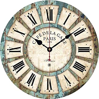 Qukueoy 12 Inch Silent Round Wooden Wall Clock Rustic Country Style, Battery Operated, Vintage Farmhouse Wall Decor for Living Room, Kitchen, Bedroom, Office