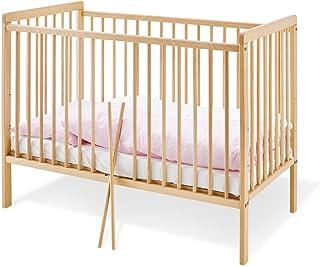 Pinolino - 111314 - Kinderbett Hanna 120 x 60 cm - mit 2 Schlupfsprossen, aus vollmassiver Buche, unbehandelt