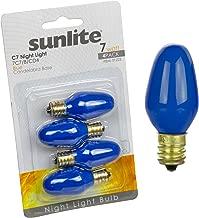 Sunlite 7C7/B/CD4 Incandescent 7-Watt, Candelabra Based, C7 Night Light Colored Bulb, Blue, 4 Pack