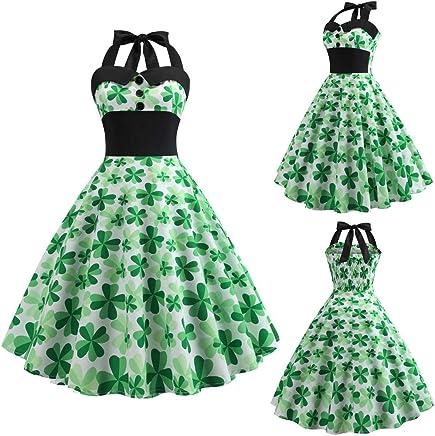 60283d85c2dd Mr.Macy St. Patrick's Day Women's Shamrock Evening Print Party Prom Swing  Dress