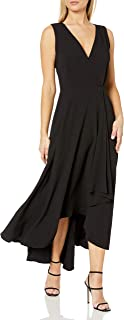 Women's Sleeveless V-Neck Maxi Dress with Ruffle-Skirt