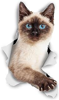 Winston & Bear Adhesivos de gato 3D - Pack 2 - Gato siamés Breakout Stickers para pared, pegatinas de Gato siamés de nevera