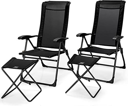 popular Giantex 4 Pcs Folding Patio Chairs Set 2 Pack outlet sale Patio Dining Chairs with Footrest Portable Sling Chairs Camping Lawn Chairs with Adjustable Back Outdoor Bistro discount Chairs for Porch Garden Yard Pool outlet sale