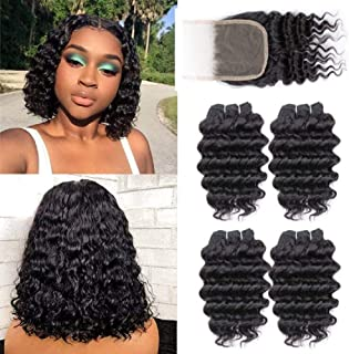 Brazilian Deep Wave 4 Bundles with Closure,Upgrade 8A+ 100% Unprocessed Virgin Human Hair,Wave Short Bob Curly Bundles with Lace Closure Natural Color Bundles-with-Closure(10 10 10 10 with 8)