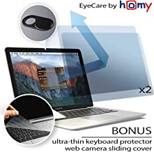 Homy Anti Blue Light Screen Protector Kit [2-Pack] for MacBook Pro 13 inch 2016-2017-2018-2019. Bonus: thinnest Keyboard Cover, Web Camera Cover. Eye Protection for A1706 A1989 A2159 A1708