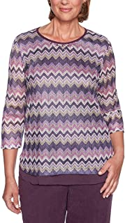 Alfred Dunner Women's Petite Zig Zag Print Knit Top with Side Slits