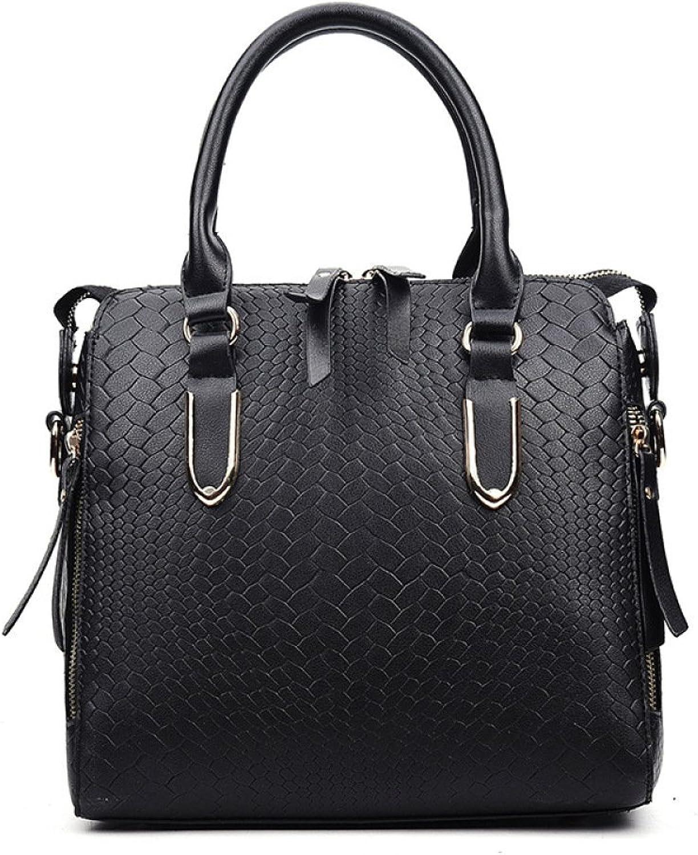 Huasen Evening Bag Trendy Fashion Classic Embossed Crocodile Bag Large Capacity Handbags Shoulder Hand Party Handbag (color   Black, Size   262310cm)