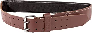 Leather Gold Padded Tool Belt Leather, 2.5 Inches Wide   Genuine Grain Leather Work Belt 2106   Double Prong Buckle and 2 Hole Rows   Comfortable Mesh and Foam Padding   Built Tough For Construction