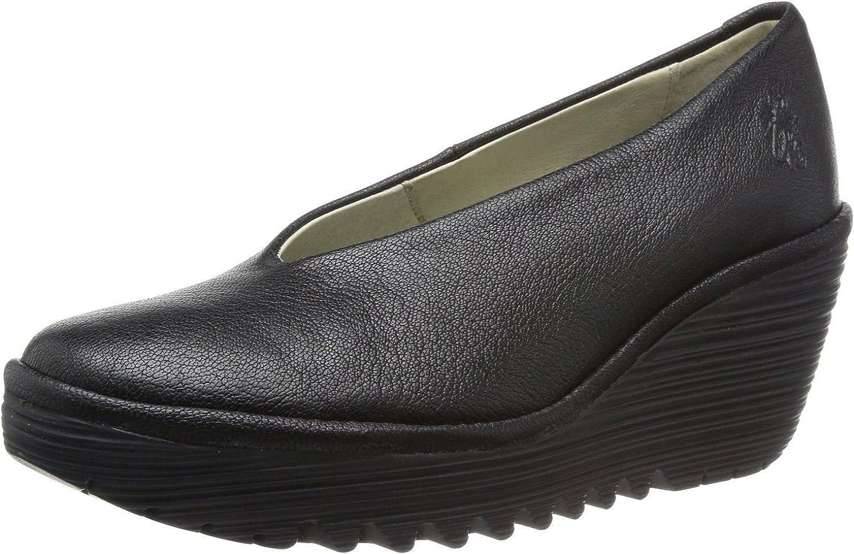 FLY London Yaz Schwarzes Leder Damen Wedge Schuhe Stiefel