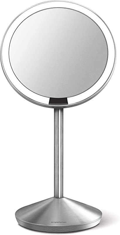 Simplehuman Mini Sensor Lighted Makeup Travel Mirror 5 Round 10x Magnification Stainless Steel Rechargeable
