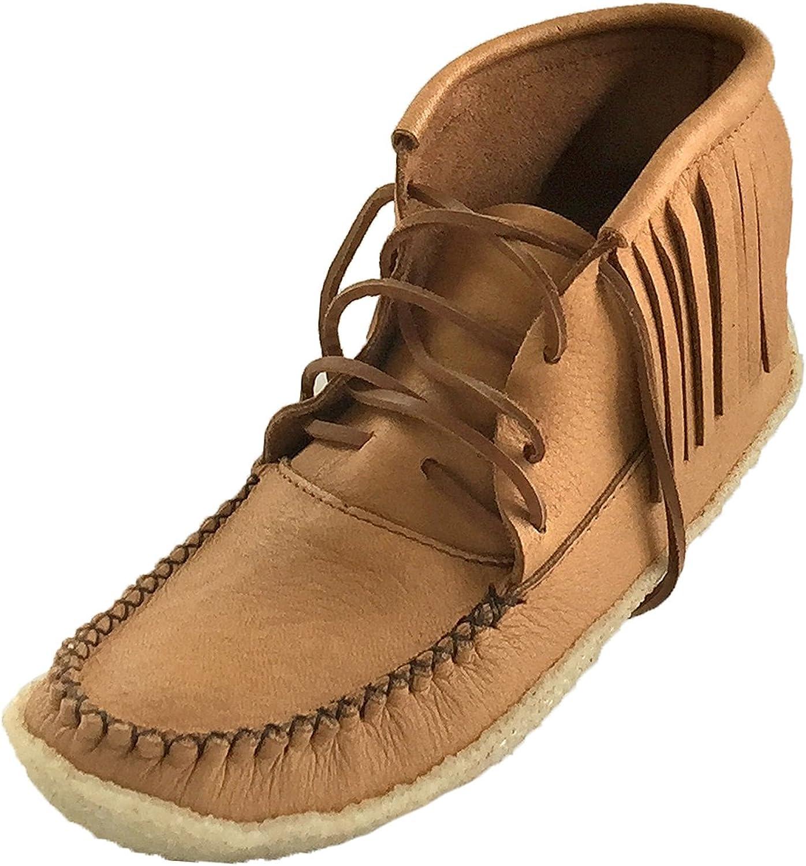 Bastien Industries Men's Fringe Moose Hide Leather Crepe Sole Ankle Moccasin Boots Maple Tan