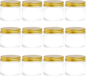 5 oz PET Clear Plastic Wide Mouth Jars With Gold Airtight Lids, Plastic Mason Jar, Containers For Cosmetics, Slime Storage Jars, Desert Containers, Spice Jar (5 oz, Gold, 12 ct)…