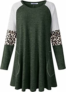 JollieLovin Plus Size Tops for Women Cute Swing Fall Clothes Ladies Leopard Print Tunic Tops with Pockets