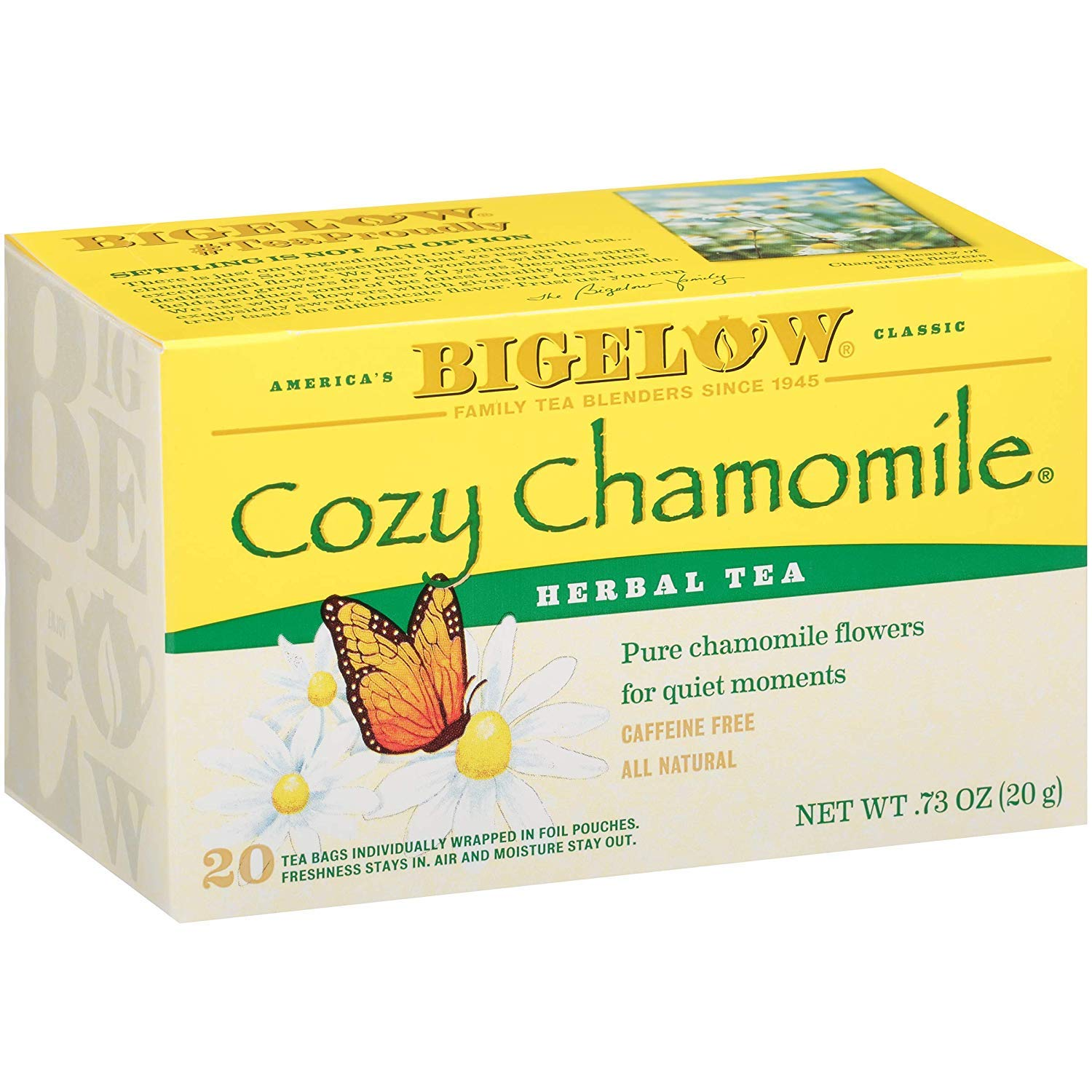 Bigelow Max 87% OFF Cozy Chamomile Herbal Tea Bags 6 20-Count Excellent of Pack Boxes