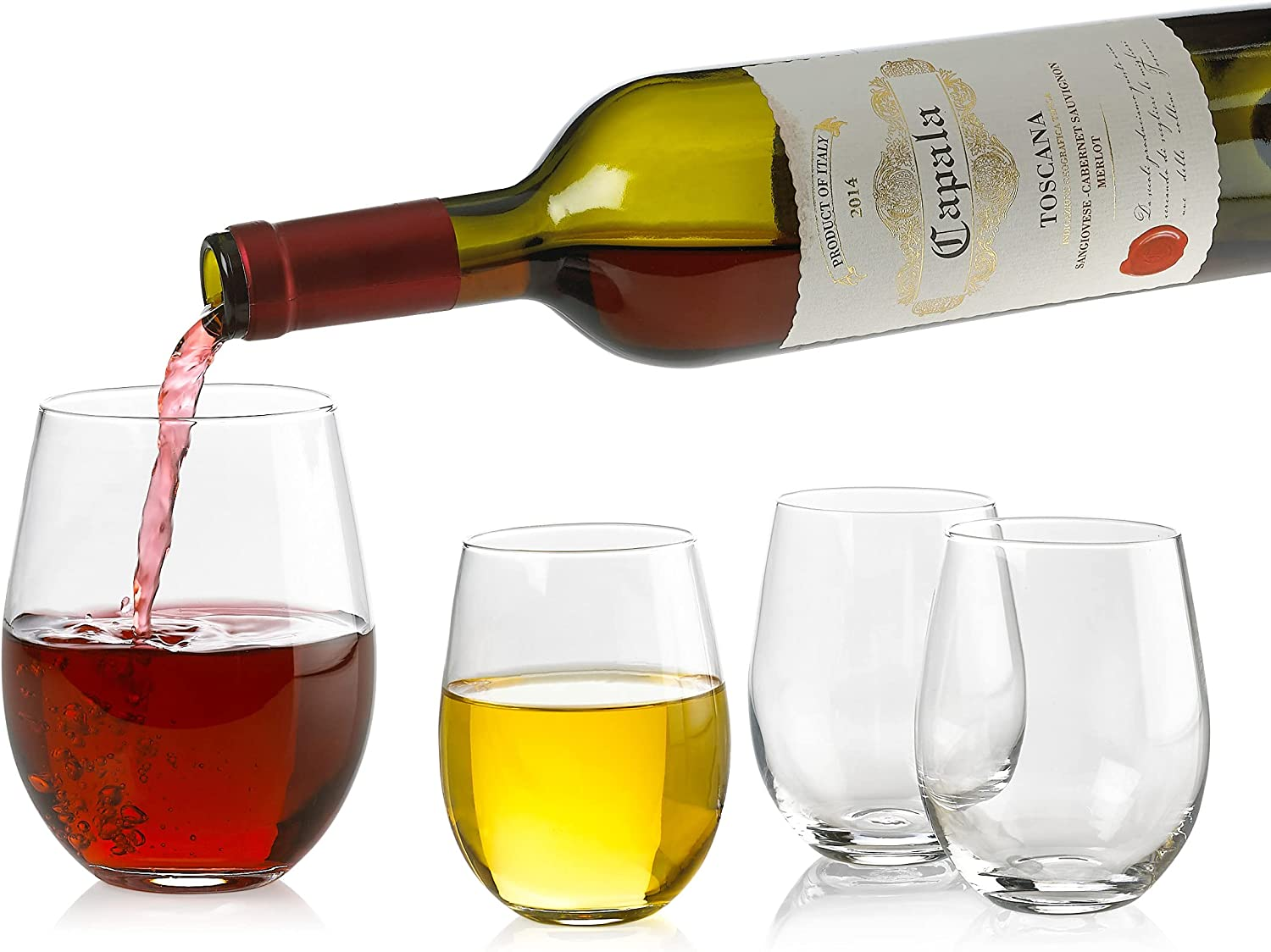 Set of 4 Classic Wine Stemless Glasses 18 Spa - Max 67% OFF Ounce Toasting Limited price
