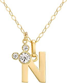 Disney Mickey Mouse Initial 14kt Gold and Cubic Zirconia Necklace