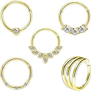 MJZ Daith Earrings Cartilage Hoop Earrings for Women 16G Stainless Steel CZ Helix Tragus Hoop Earrings Septum Nose Hoop Pi...