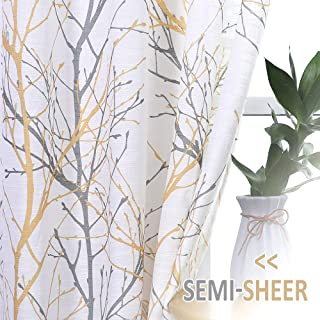 """Fmfunctex Branch Print Semi-Sheer Curtains for Living Room 63"""" Yellow and Grey on White Linen Textured Window Drapes for Bedroom Grommet Top 50"""" Width x 2 Panels"""