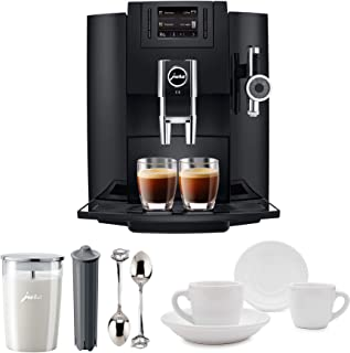 Jura 15109 Automatic Coffee Machine E8, Black Includes Jura Milk Container, Jura Filter Cartridge and Two Espresso Cups and Sauceres