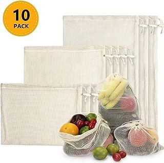 TYRY.HU Bolsas de Malla Reutilizables, Bolsas de Comestibles 10 Piezas Bolsas de Algodón Orgánico para Frutas y Vegetales para Almacenar Comida, IR de Compras y Guardar Juguetes