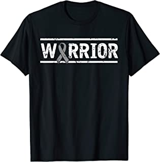 Vintage Grey Ribbon Brain Tumor Warrior T-Shirt