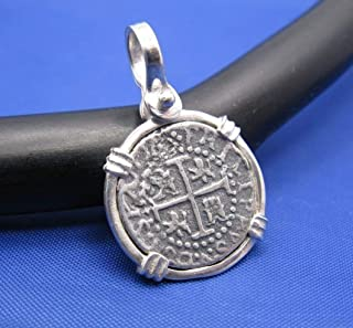 Sterling Silver Small Atocha Shipwreck Coin Replica in Custom Pendant Bezel with Shackle Bail