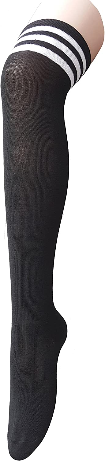 Zando Women Thin Houston Mall Stripes Factory outlet Tube Socks Knee Tights High Thigh Over