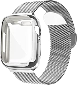 Metal Mesh Magnetic Band with Case Compatible with Apple Watch Bands 40mm,Sport Adjustable Stainless Steel Closure Milanese Loop Strap for Women Men Compatible for iWatch Series SE/6/5/4,Silver