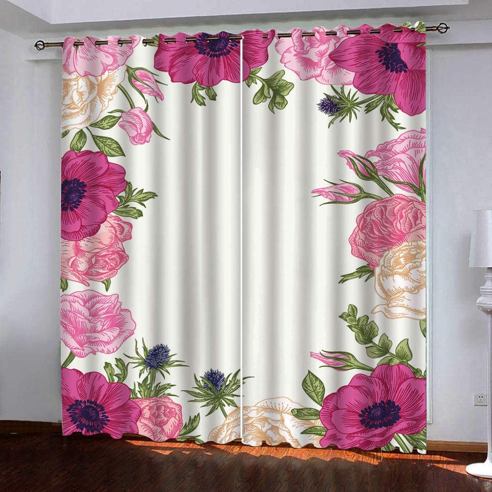 Blackout Window Super beauty product Phoenix Mall restock quality top Curtain Panels Red Thermal Flower for Insulatio
