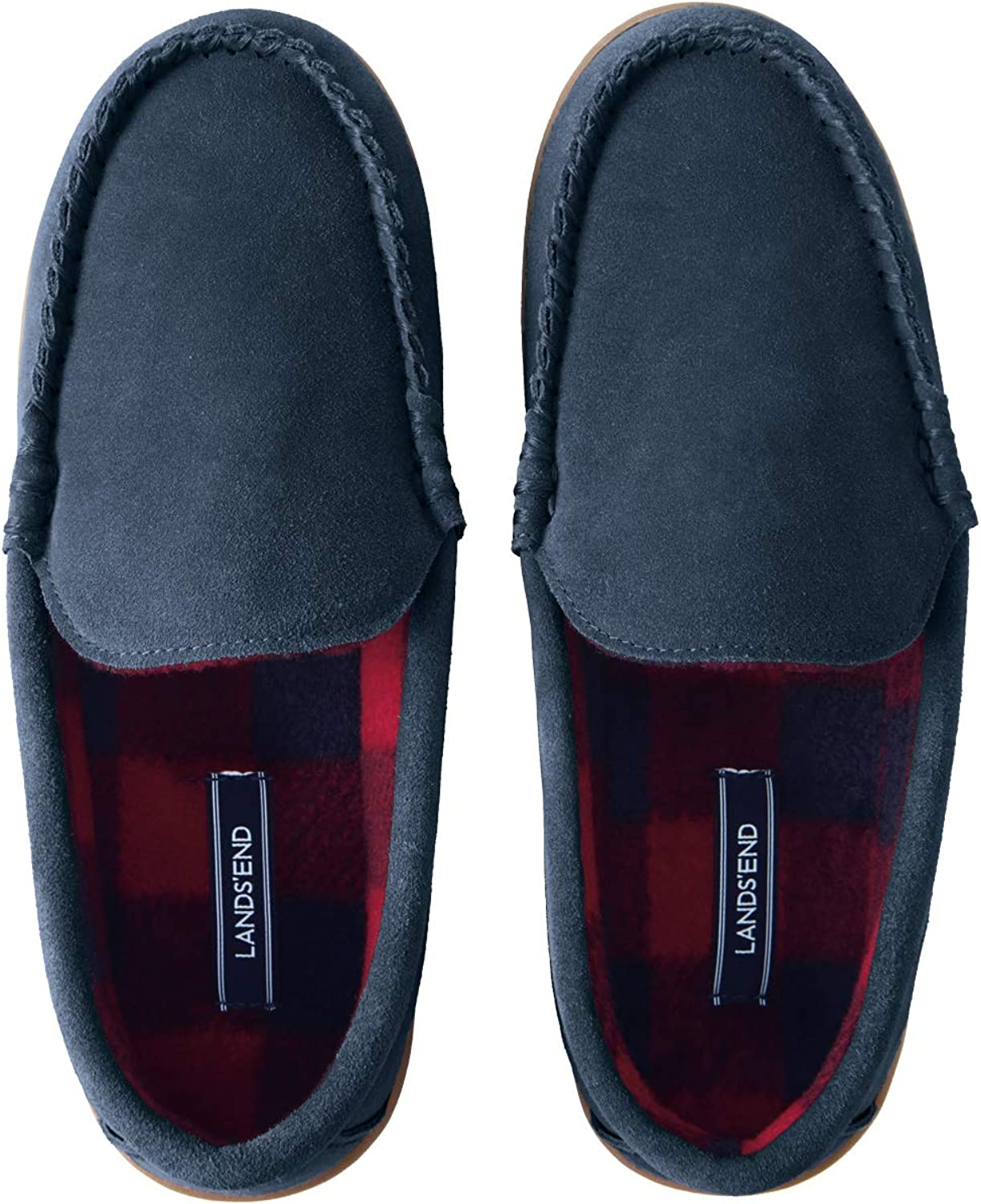 Lands' End Men's Suede Moccasin Slippers with Fleece Lining