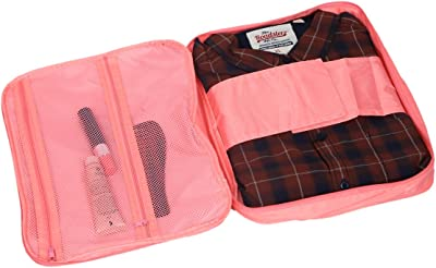 Kuber Industries™ Pink Polyester Protective Shirt Packing Folder Cover with Zip Closure with Handle (Men's One Day Kit) (KI19492)