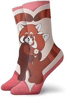 Novedad Funny Crazy Crew Sock Dos pandas rojos Calcetines deportivos deportivos impresos Calcetines de regalo personalizados de 30 cm de largo