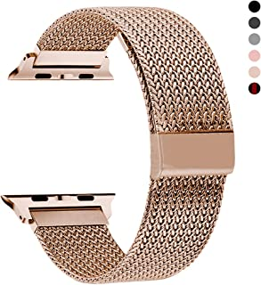 RXCOO Compatible for Watch Band 38mm/40mm 42mm/44mm, Stainless Steel Mesh Wristband Loop Magnet Band Compatible with Iwatch Series 4/3/2/1 (Rose Gold, 38mm/40mm)