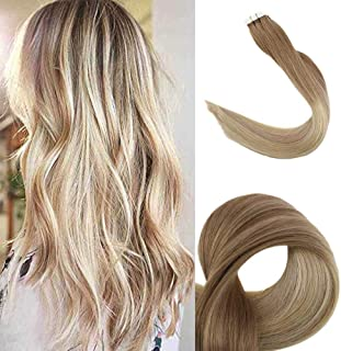 Fshine 18inch Balayage Remy Tape in Hair Extensions Color #12 Fading to #18 and #60 Glue in Extensions Human Hair 20pcs 50g