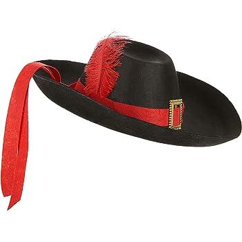 Colore Nero 437072 Taglia /única Guirca- Cappello da Moschettiere Porthos Adulto