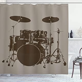 Ambesonne Music Decor Shower Curtain by, Grunge Drum Kit for Bass Rythm Lovers Ba Dum Tss Image Sketchy Art, Fabric Bathroom Decor Set with Hooks, 75 Inches Long, Purple Grey and Black