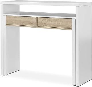 Habitdesign 0F4582A - Mesa Escritorio Extensible Mesa Estudio Consola Color Blanco Artik y Roble Canadian Medidas: 985...