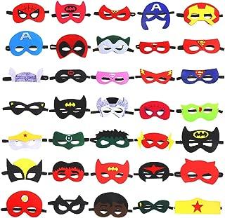 VEYLIN 35Pcs Superhero Felt Masks, Premium Superhero Mask Costume with Elastic Headband, 35 Types Perfect for Kids Birthday Party (8.66x4.33 Inches)