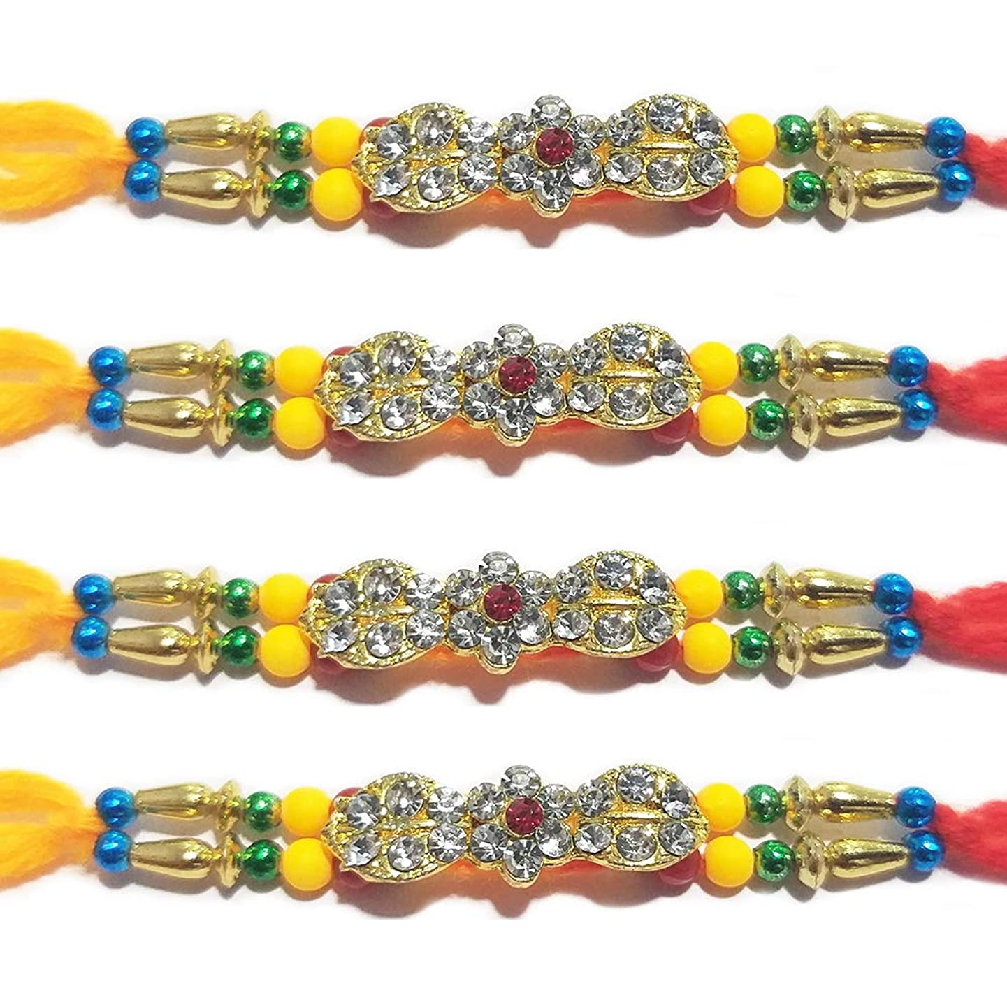 IndiaBigShop Set of 4 Rakhi for Brothers, 24 Stone Studded in Unique Shaped with Colorful Beads Design Rakhi Bracelet, Multi Design and Assorted Color