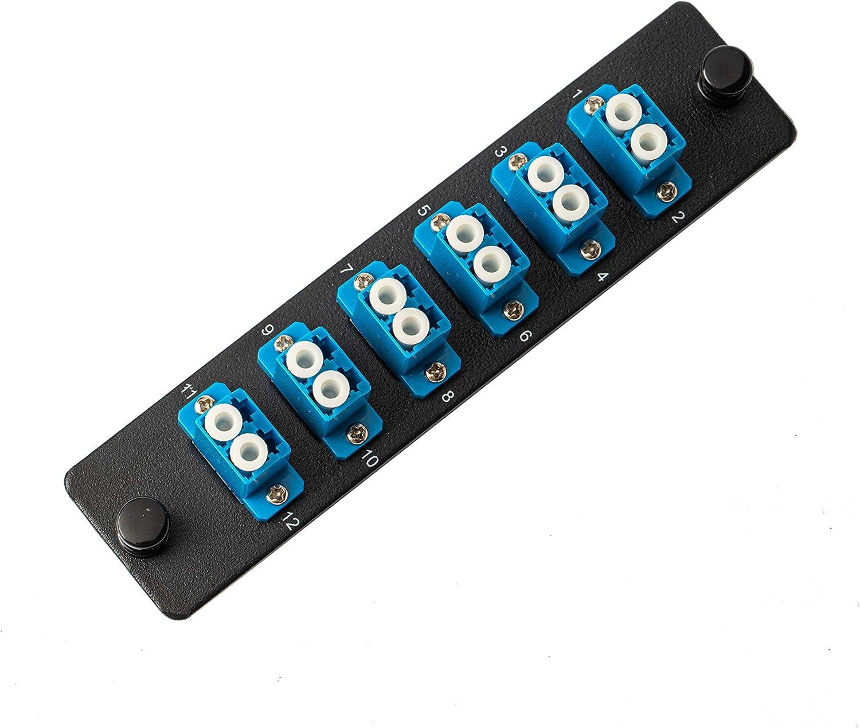 SpeedyFiberTX - LGX Compatible Fiber Patch Panel, 6 Singlemode Blue Duplex LC Adapters, 12 Fiber Ports