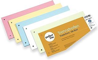 perfect line lot de 100 bandes de séparation en papier, format trapèze, onglet en 5 couleurs pastel, assorties, cartes de ...