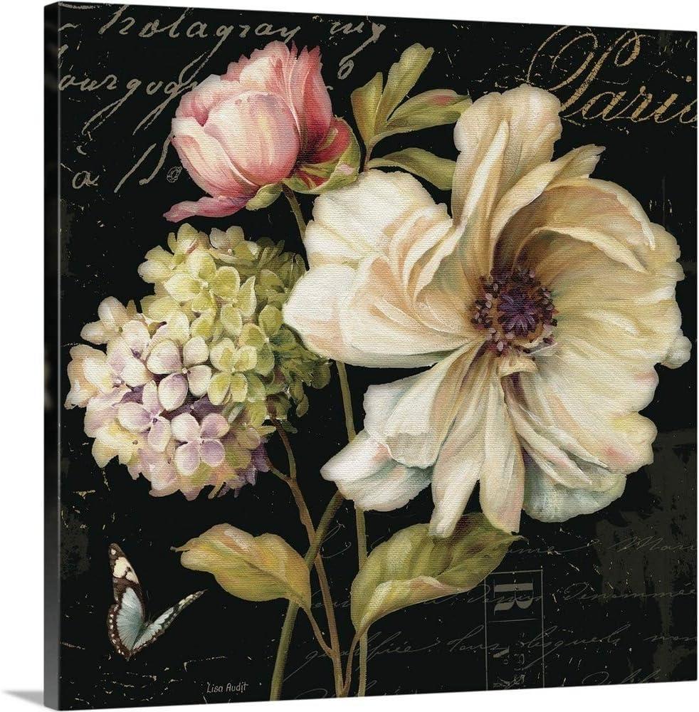 Wholesale Sale item Marche de Fleurs on Black II Print Artwo Art Floral Canvas Wall