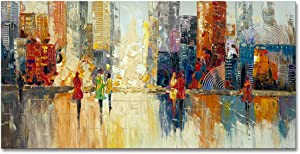 Canvas Wall Art Abstract Cityscape Painting Modern New York City Artwork Lady Romantic Street Scenery Picture Home Office Decor